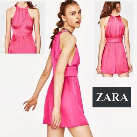 4a62aec0b84 NWT Zara Fuchsia Pink Satin Halter Mini Dress